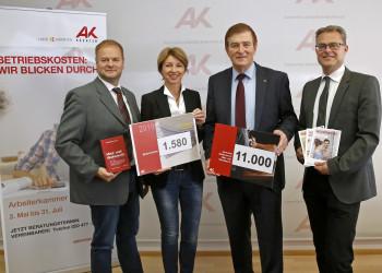 v.l.: Mag. Michael Tschamer, LHStv. Dr. Gaby Schaunig, AK-Präsident Günther Goach, Mag. Stephan Achernig © Eggenberger/AK