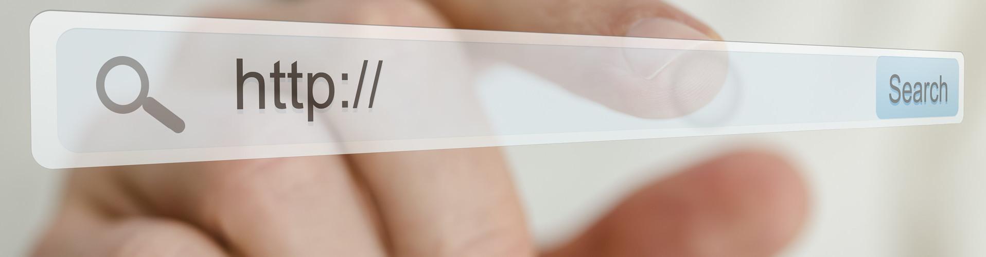 Man sieht eine transparente Ebene mit einer URL-Zeile, in welcher  © Gajus, stock.adobe.com
