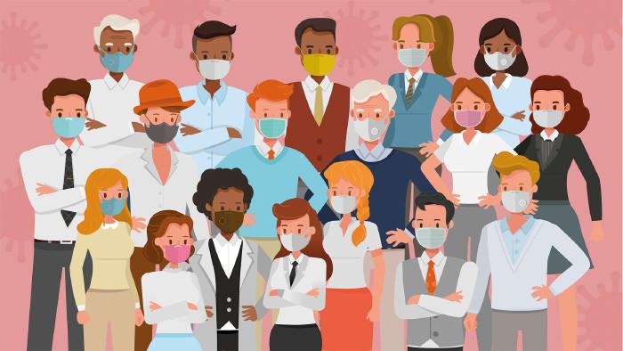 Illustration: Viele Menschen mit Mund-Nasen-Masken © yindee, stock.adobe.com