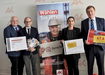 v.l.: Dr. Peter Wenig, Mag. Werner Gansl, Mag. Susanne Kißlinger, AK-Präsident Günther Goach © Helge Bauer, AK