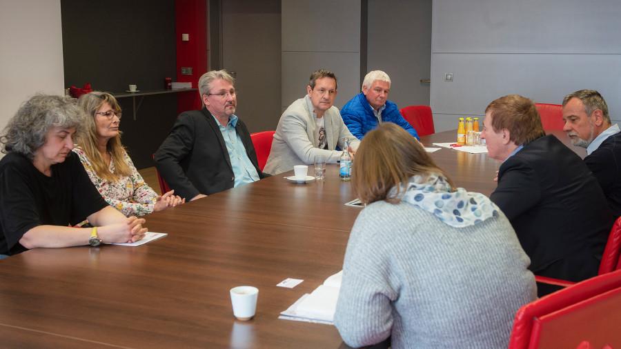 Die Spitzenkandidaten zur AK-Wahl 2019 und ÖGB-Vorsitzender Lipitsch trafen sich zu einem Arbeitsgespräch © Helge Bauer, AK