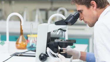 Mann in Laborkleidung blickt durch ein Mikroskop © WavebreakmediaMicro, stock.adobe.com
