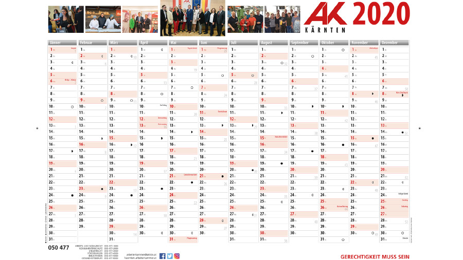 Jahresplaner 2019 Arbeiterkammer Kärnten