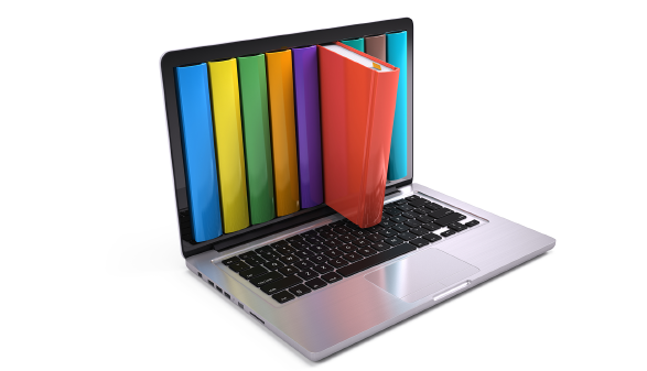 Bücher im Laptop-Suche © Sashkin, Adobe Stock
